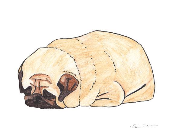 Drawn pug watercolor Lover Watercolor Print Loaf Pug