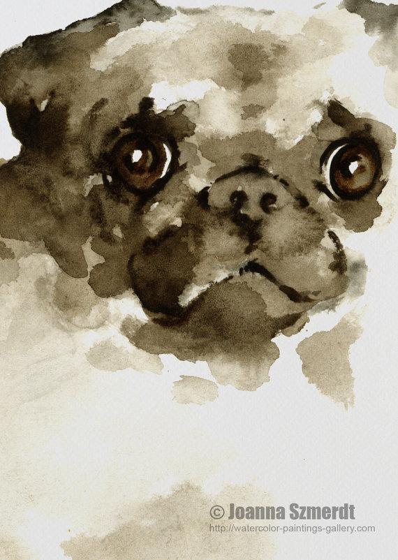 Drawn pug watercolor Watercolor Painting Pug Poster dog