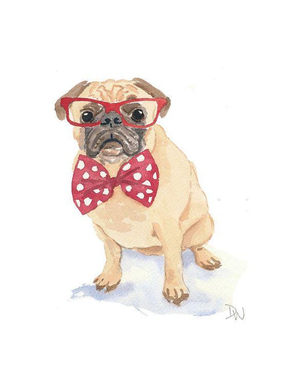 Drawn pug watercolor Watercolor Dog Bow Pinterest Pug