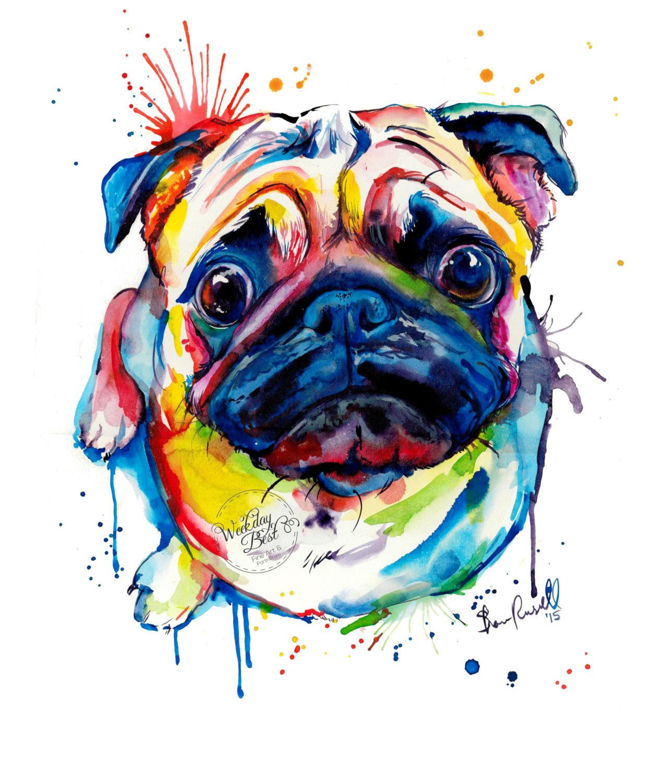 Drawn pug watercolor Print Colorful my Art Pug