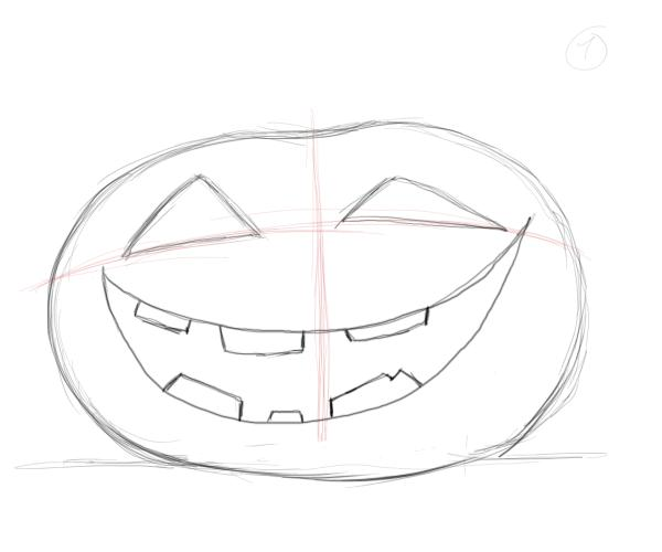 Drawn pumpkin asymmetrical The Make pumpkin Drawing teeth