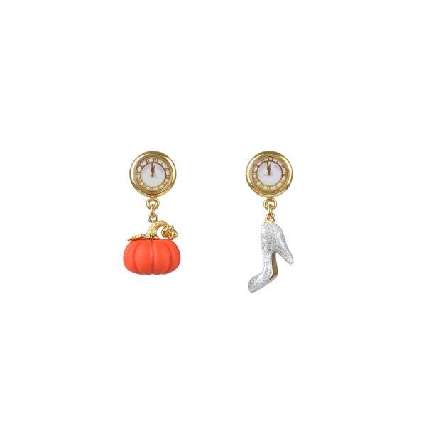 Drawn pumpkin asymmetrical Earrings N2 Pumpkin Paris and