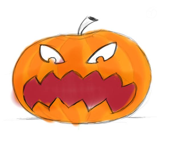 Drawn pumpkin leaf – Drawing faces Let's faces