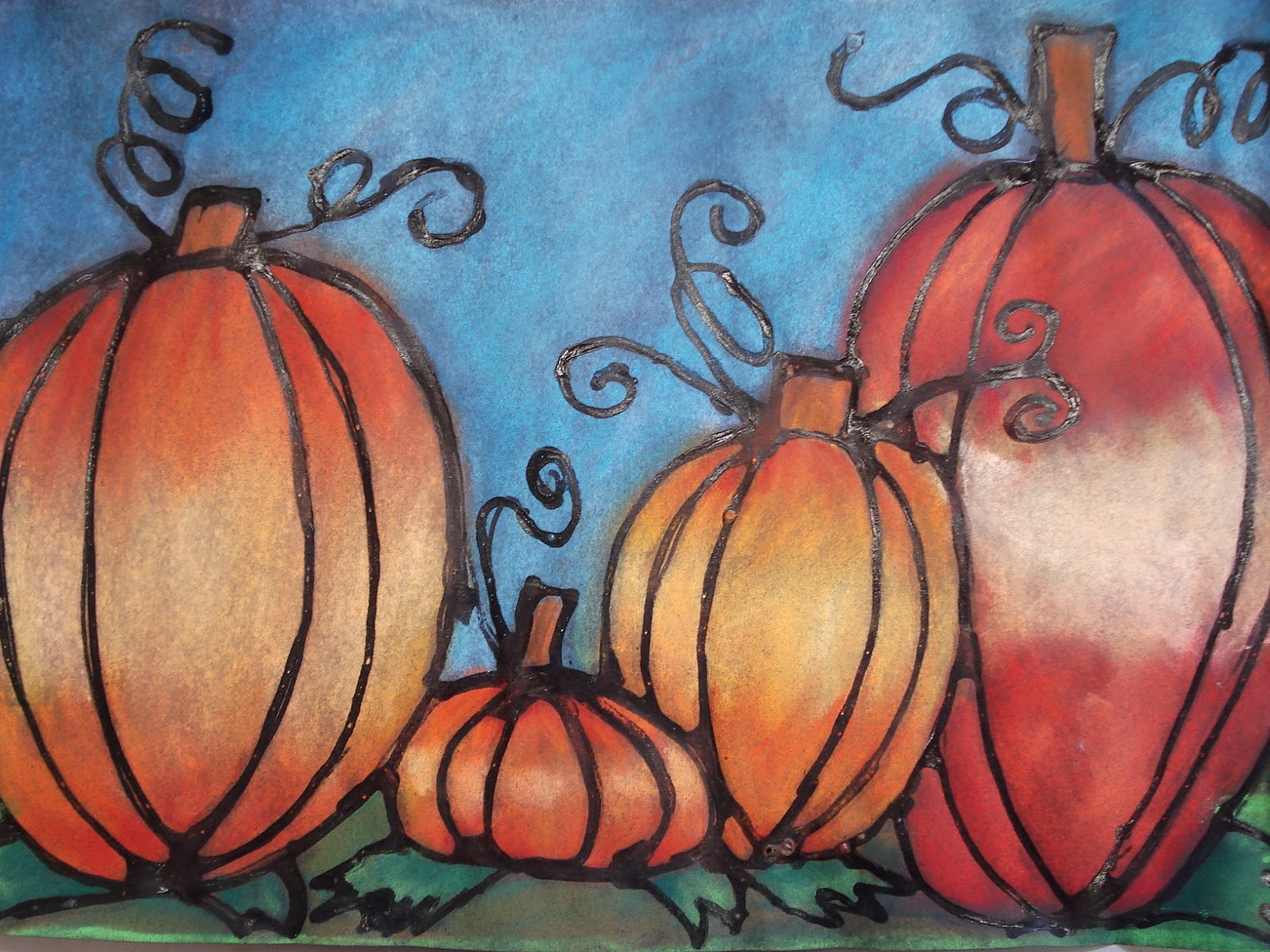 Drawn pumpkin chalk Chalk attempt: Chalk Pumpkins Pastel