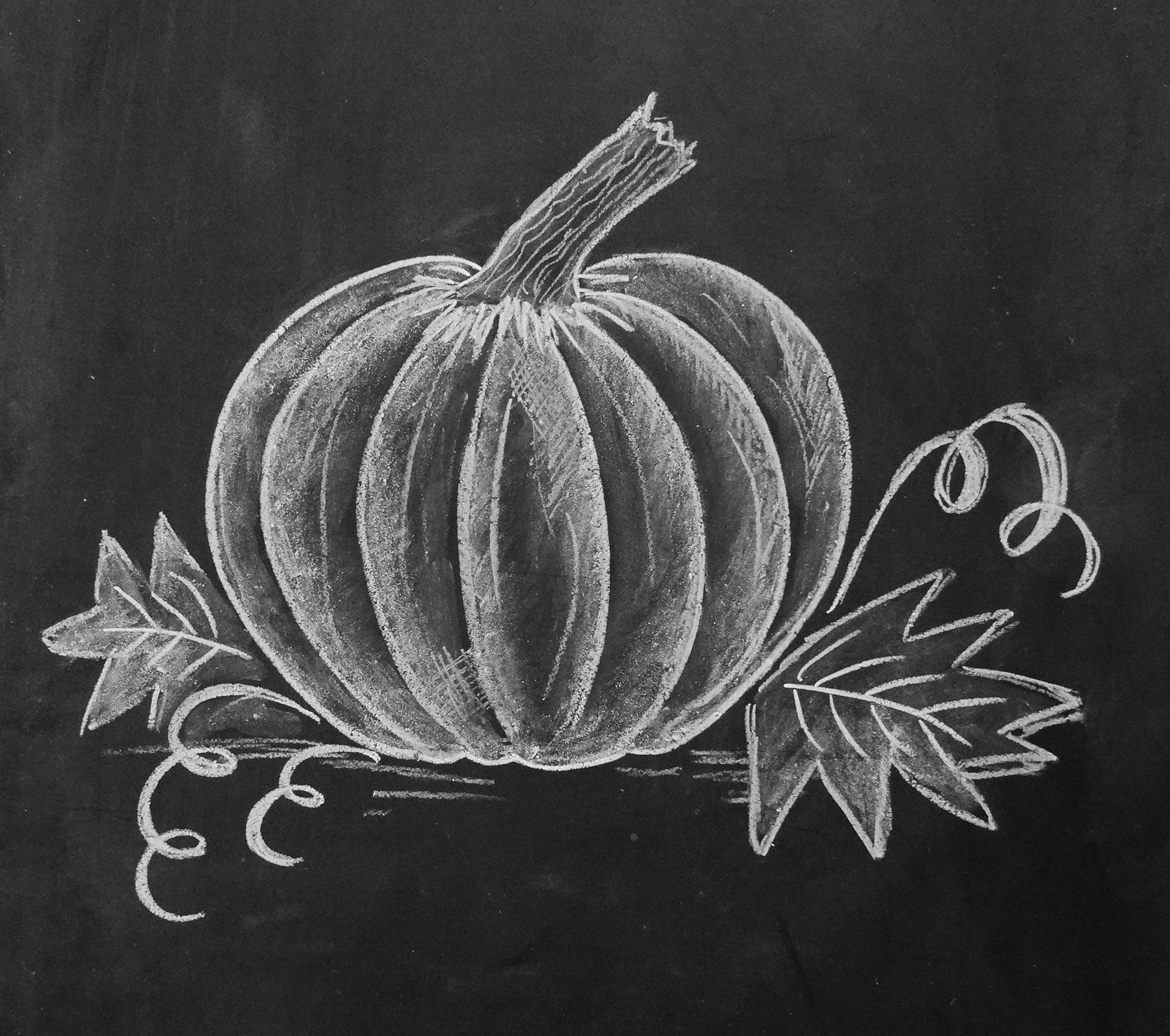Drawn pumpkin chalk Author Draw of a gives