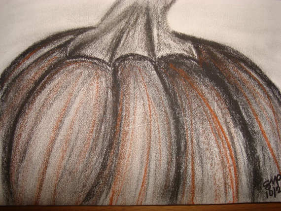 Drawn pumpkin charcoal 5x7 Pumpkin 95 about Drawing