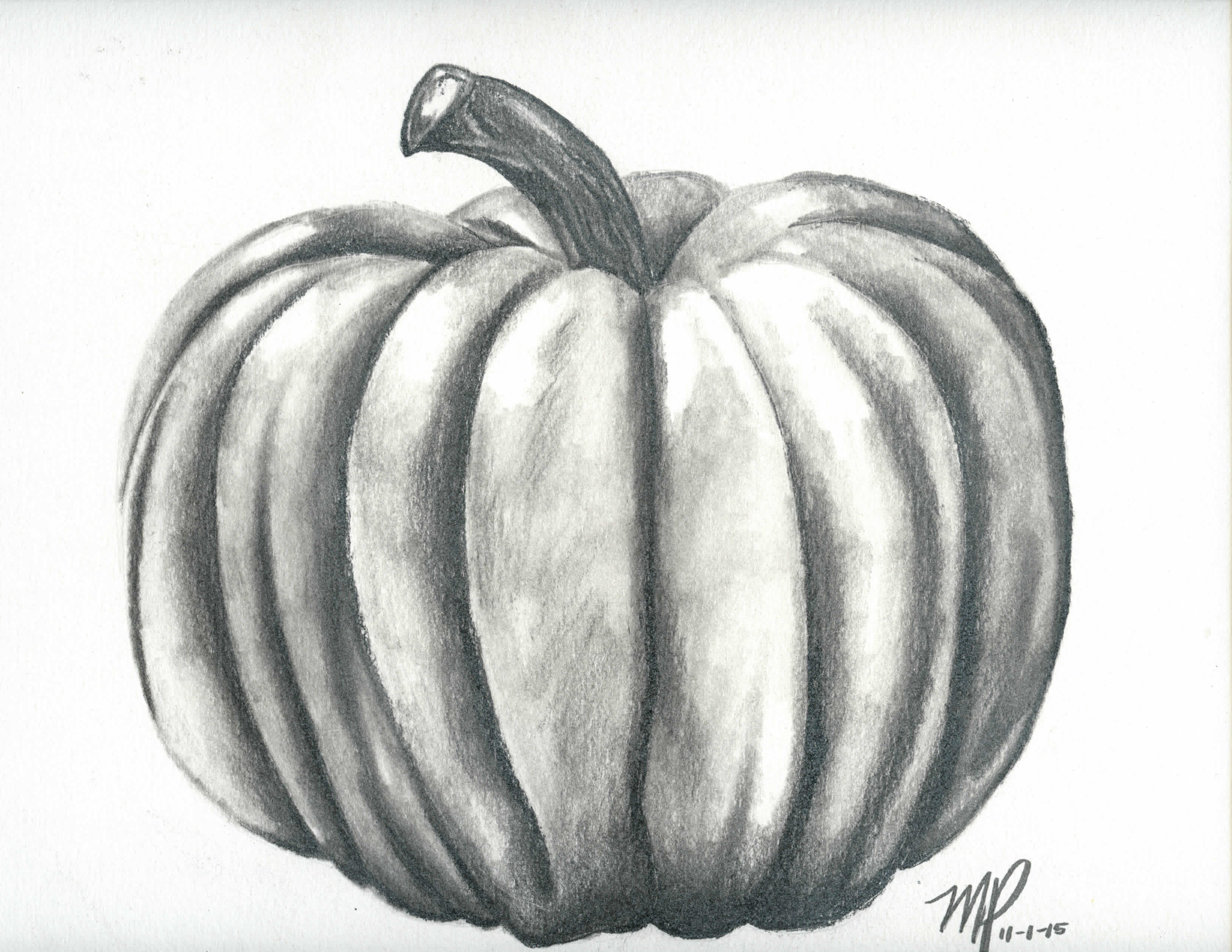 Drawn pumpkin charcoal And I They blend to
