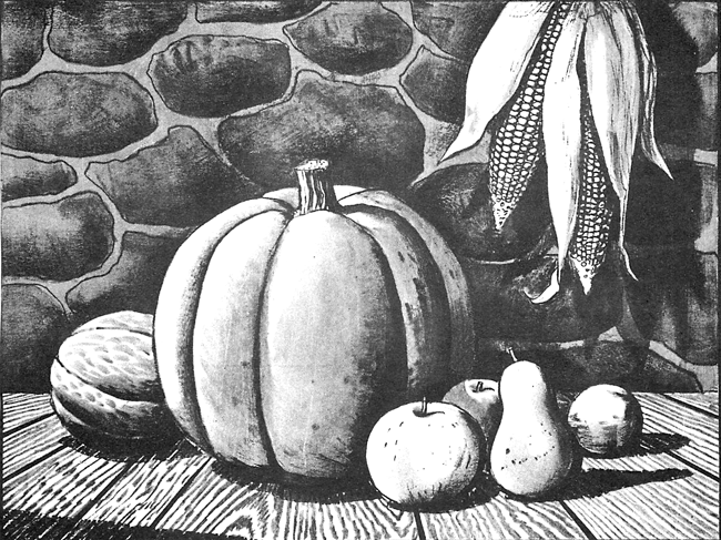 Drawn pumpkin charcoal Finished Harvest and Autumn Scene