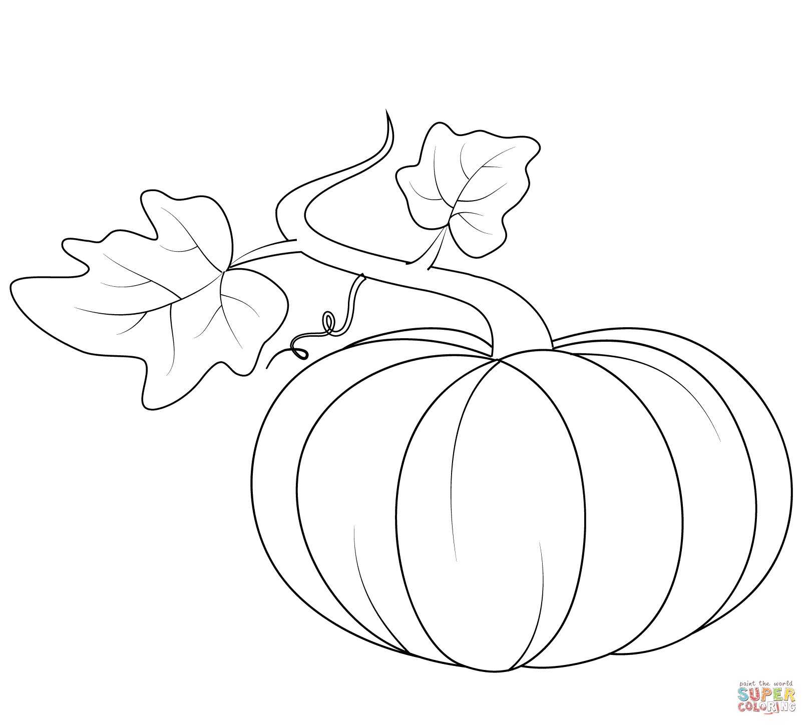 Drawn pumpkin color for kid Pages with pages coloring Leaves