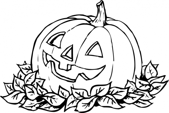Drawn pumpkin coloring page halloween 395png Coloring Page Clipart Sheet