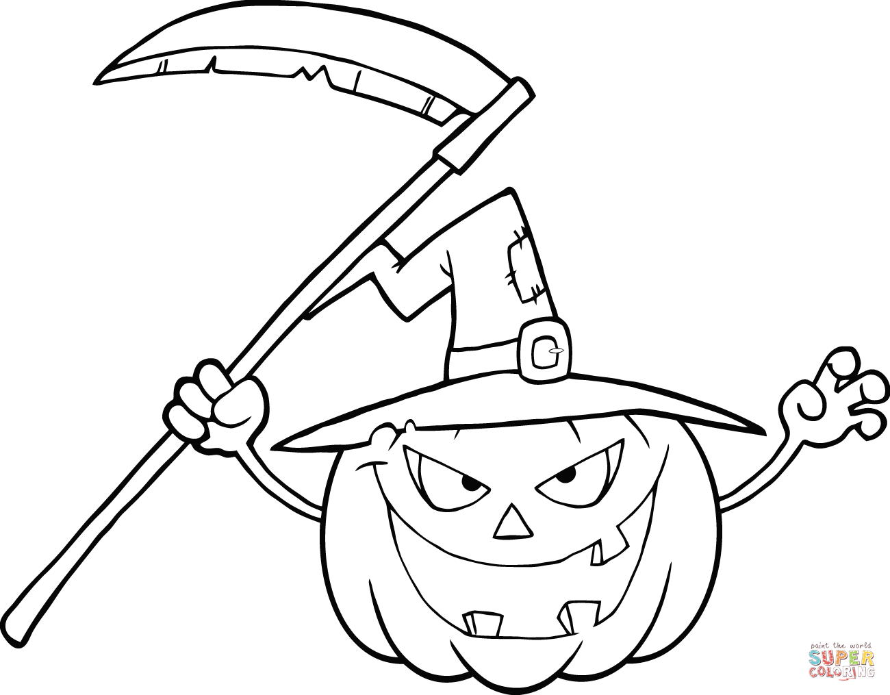Drawn pumpkin coloring page halloween Coloring pages Scythe Pages with