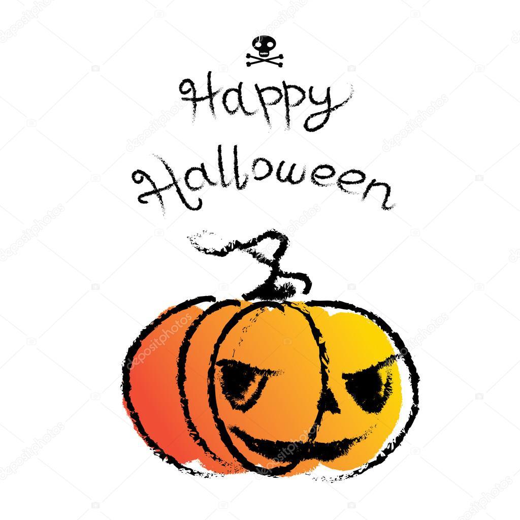 Drawn pumpkin funny Drawn Happy and Hand Retro