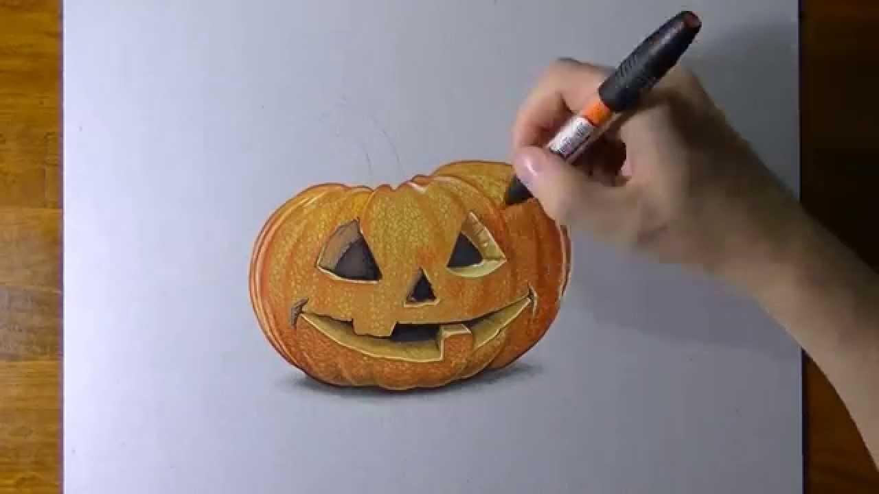 Drawn pumpkin halloween art Carved  3D illusion ART