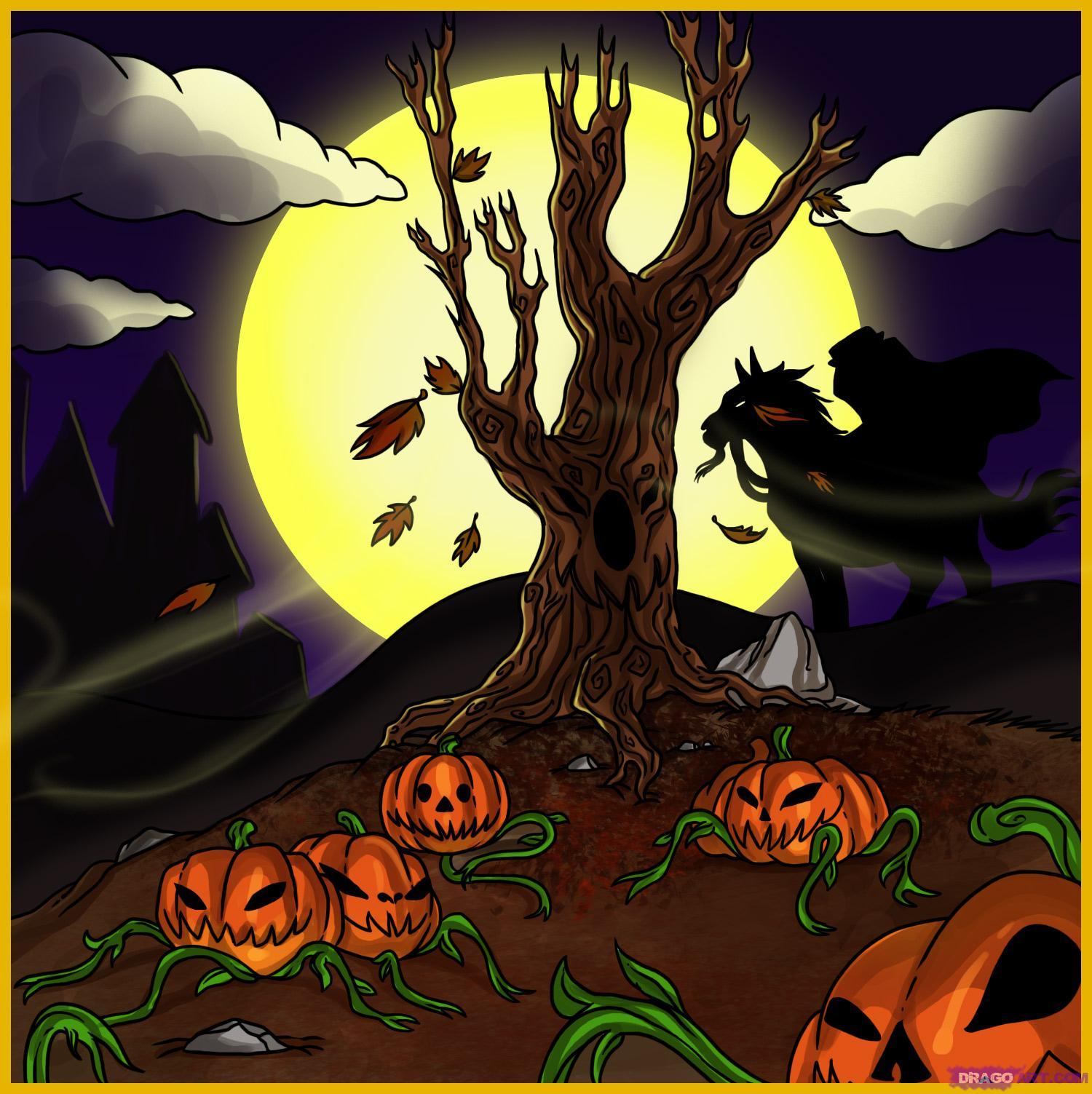 Drawn pumpkin halloween art Halloween How Draw a patch