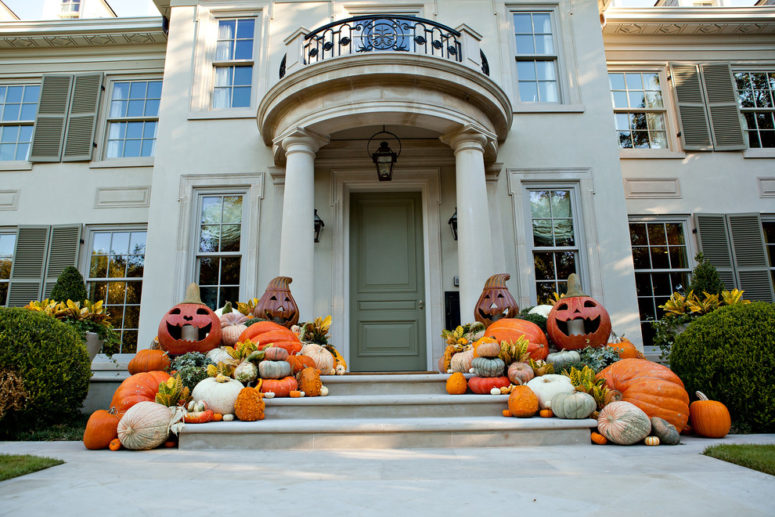 Drawn pumpkin halloween decoration Cool Halloween Decorating Outdoor several