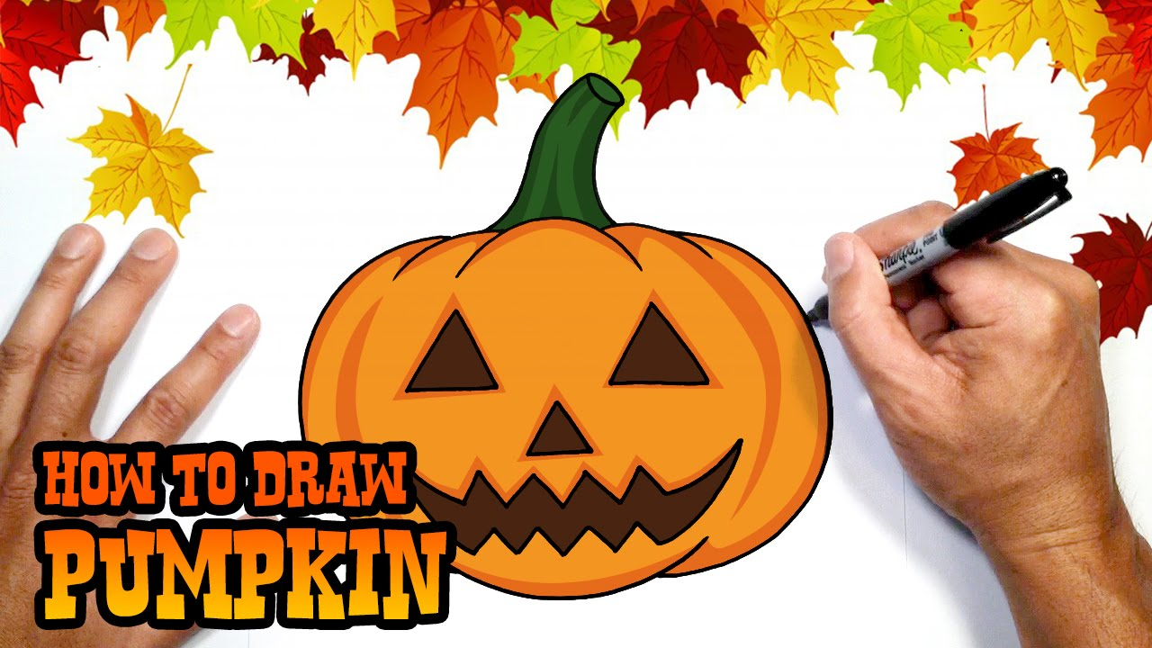 Drawn pumpkin halloween decoration Drawing to Halloween How Drawing
