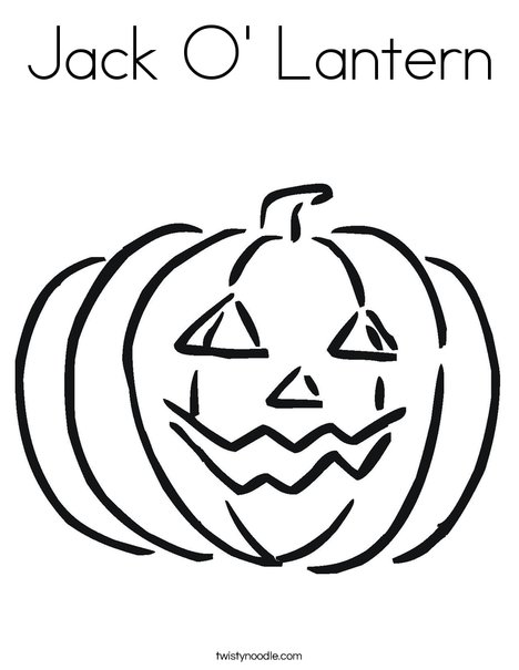 Drawn pumpkin happy jack Lantern Coloring O' Jack Lantern