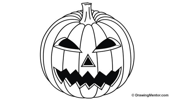 Drawn pumpkin line drawing A Step Step to draw