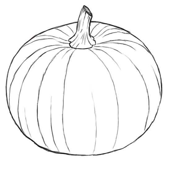 Drawn pumpkin line drawing Others and of spaced draw
