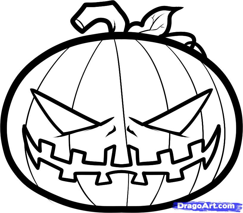 Drawn pumpkin line drawing By Step Halloween halloween Draw