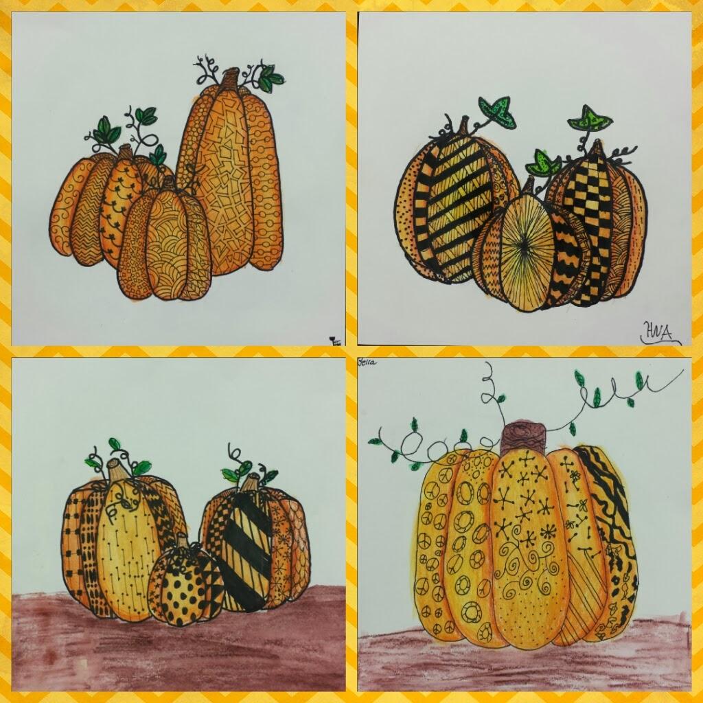 Drawn pumpkin nursery class Error Art Anderson Zentangle Angela