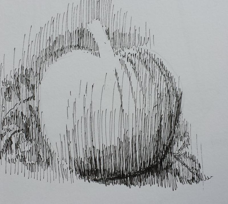Drawn pumpkin pencil I yourself placing patch Watch