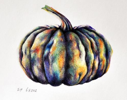Drawn pumpkin pencil Drawing colored  Original Pumpkin