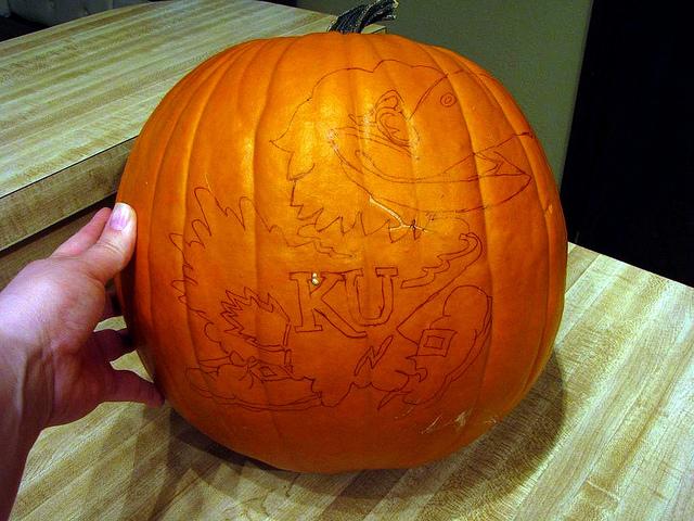 Drawn pumpkin plain Carving: Jayhawk O on Drawn