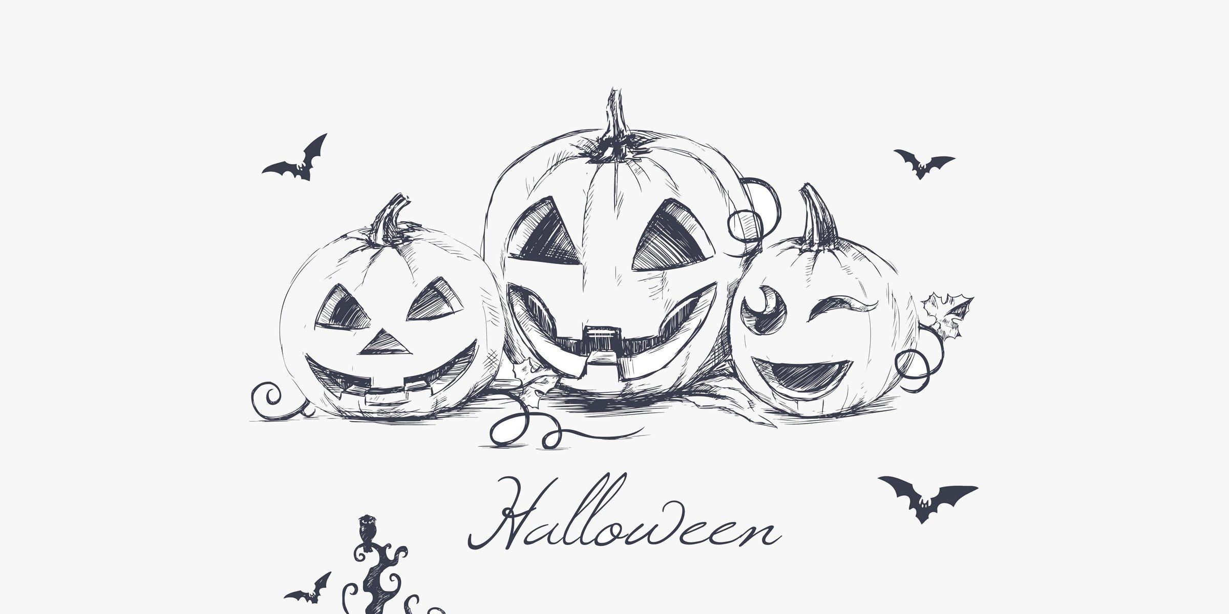 Drawn pumpkin pumkin Evil pumpkins bats halloween pumpkins