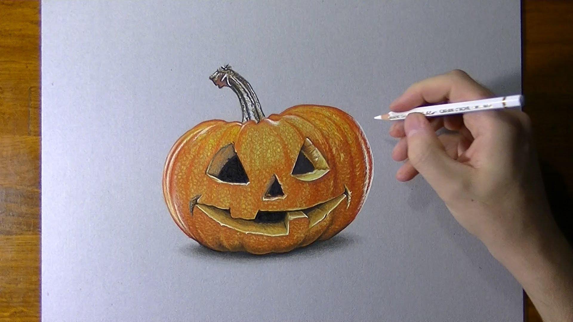 Drawn pumpkin pumkin  3D Drawing pumpkin carved