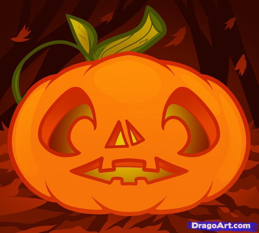 Drawn pumpkin pumpkin face To to a by face