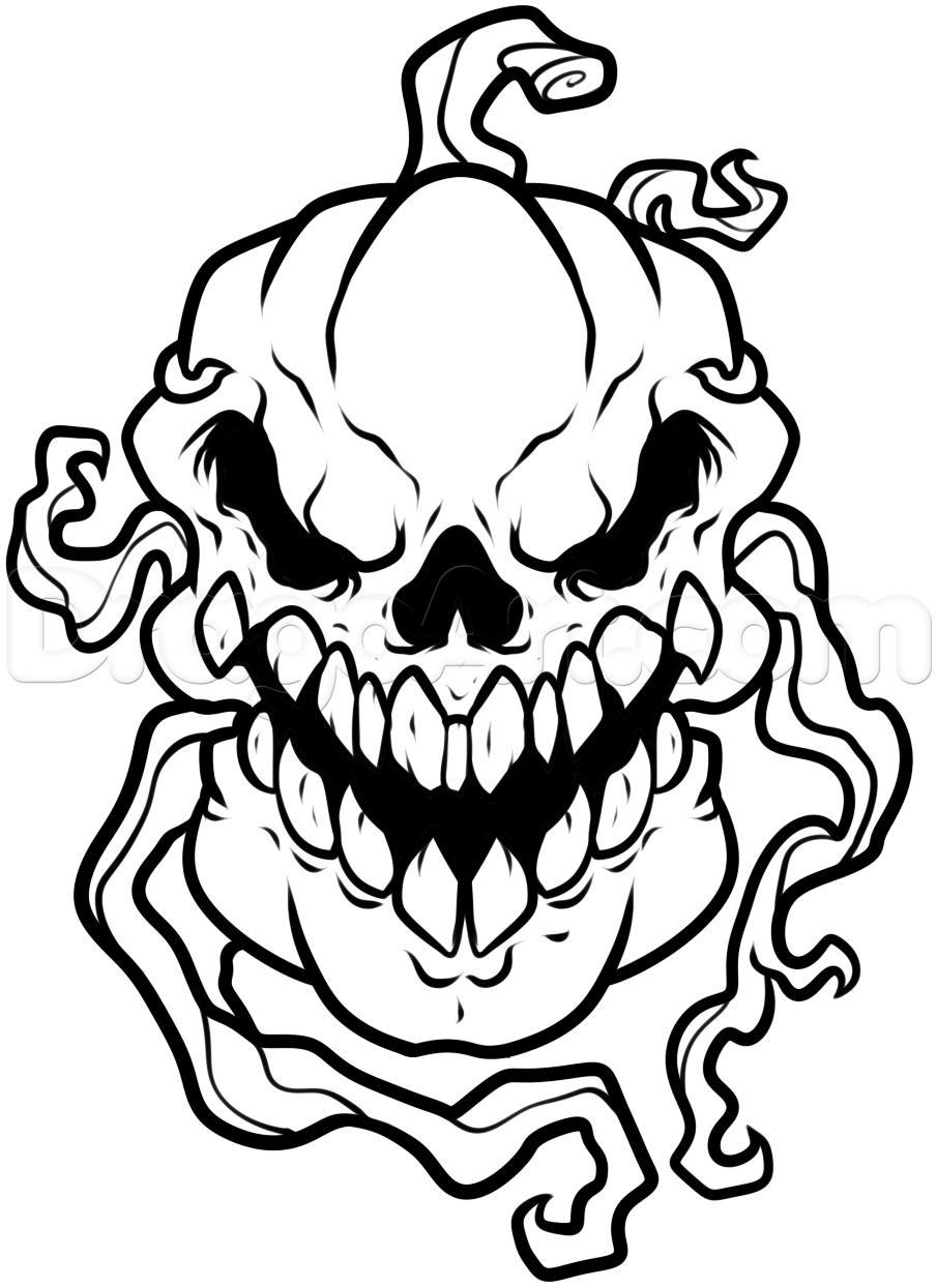 Drawn pumpkin pumpkin head A step skull Draw to