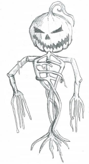 Drawn pumpkin pumpkin head Scarecrow head Pumpkin project drawing_sm
