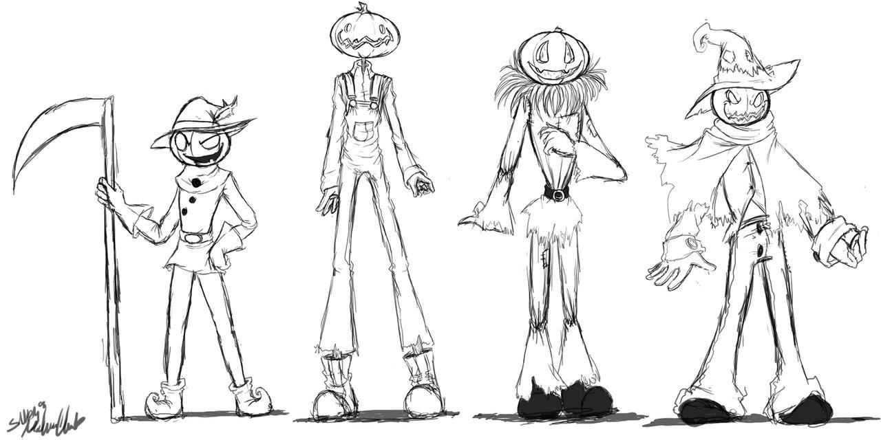 Drawn pumpkin pumpkin head : the Sandy : Heads
