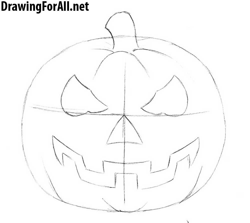 Drawn pumpkin pumpkin head Halloween head pumpkin a Draw