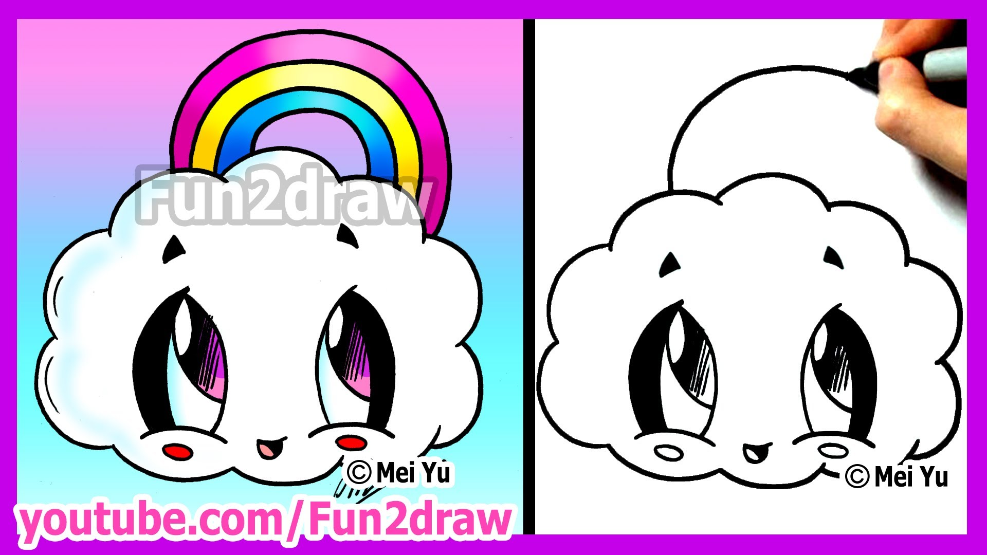 Drawn pumpkin rainbow Fun2draw Cloud Cloud Cute How