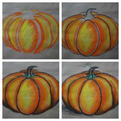 Drawn pumpkin realistic Pumpkins pastel to shade on