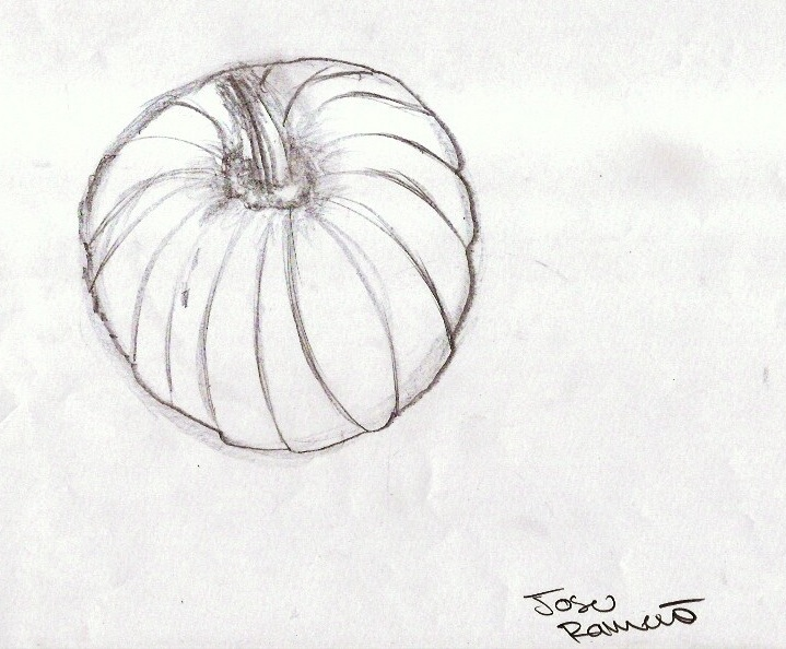 Drawn pumpkin realistic Tonal perspective your the point
