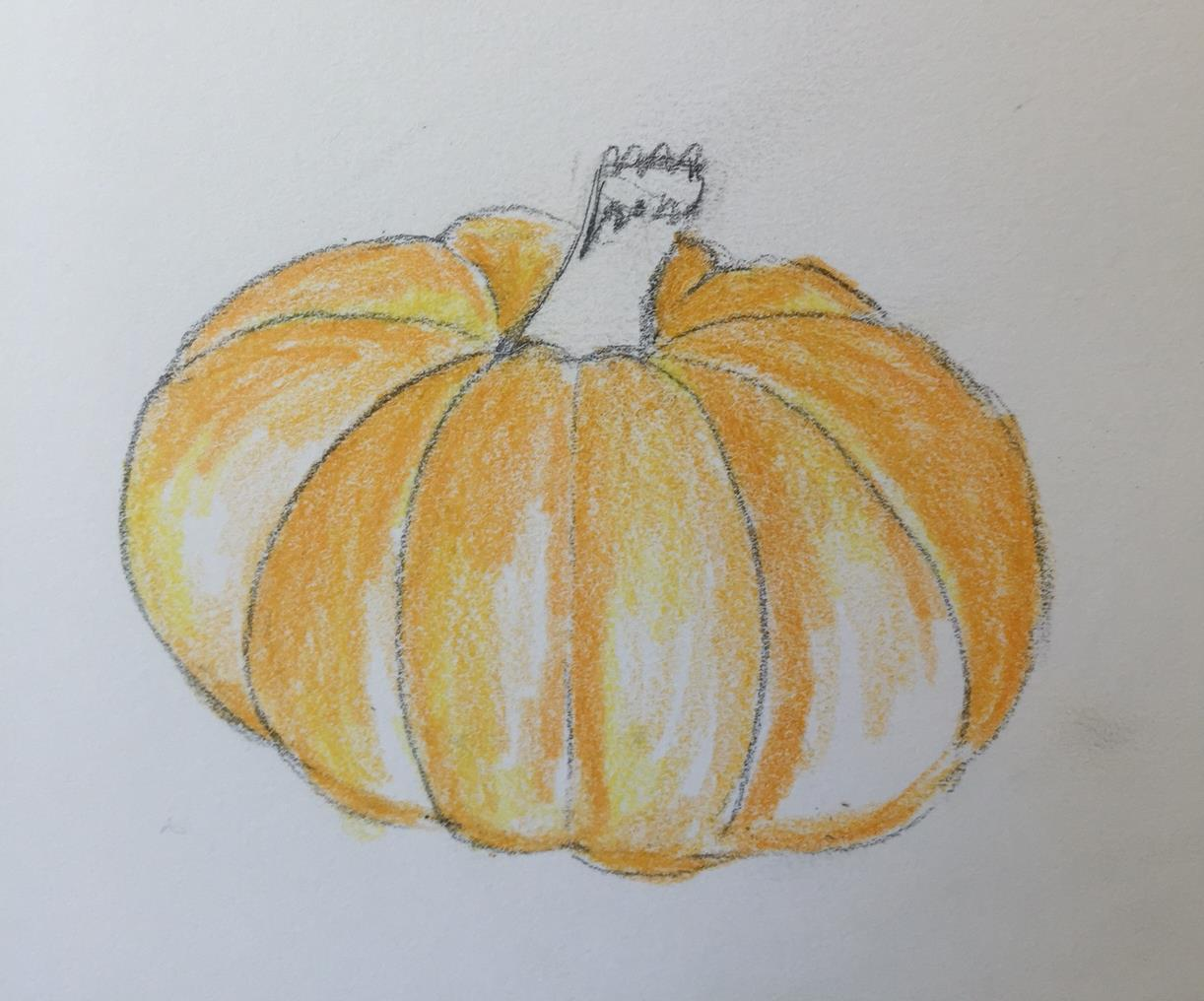 Drawn pumpkin shading To in leave lines creases