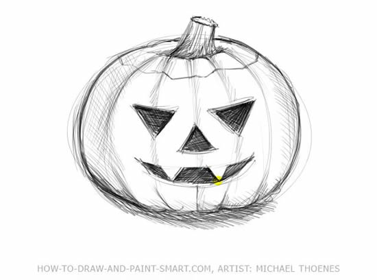 Drawn pumpkin shading 6 to Title Step How