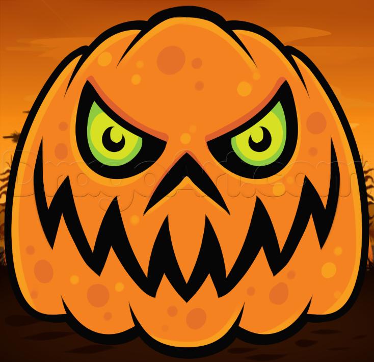 Drawn pumpkin spooky A scary to Step draw