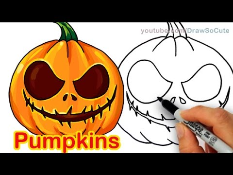Drawn pumpkin spooky Scary Easy Pumpkins Halloween Carved