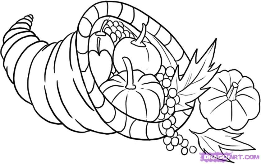 Drawn pumpkin thanksgiving A  Step a Draw