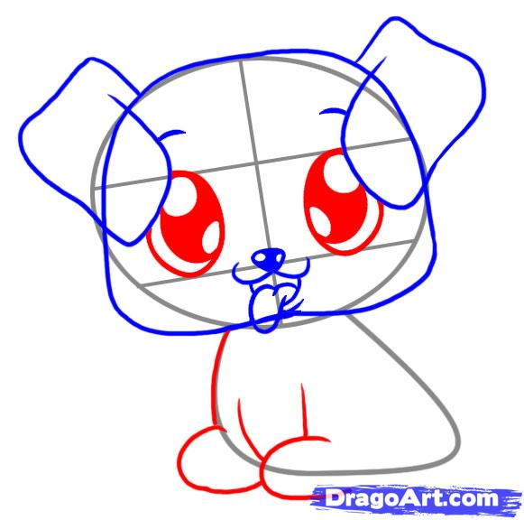 Drawn puppy big eye FREE Draw Pets Step Online
