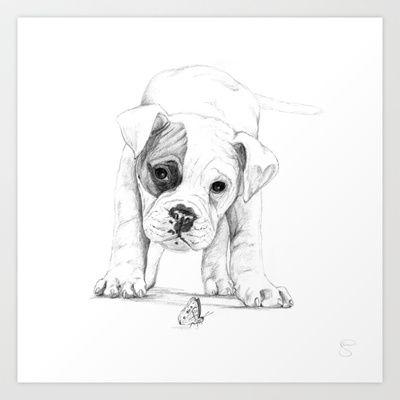 Drawn puppy boxer Best Framed :: Boxer Dog