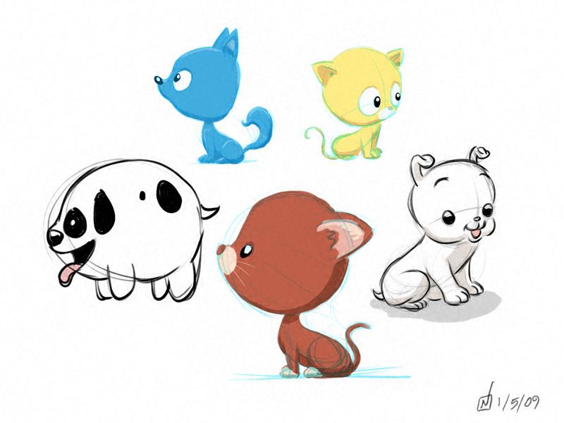 Drawn puppy kitten Puppy Cute Kitten Cute And