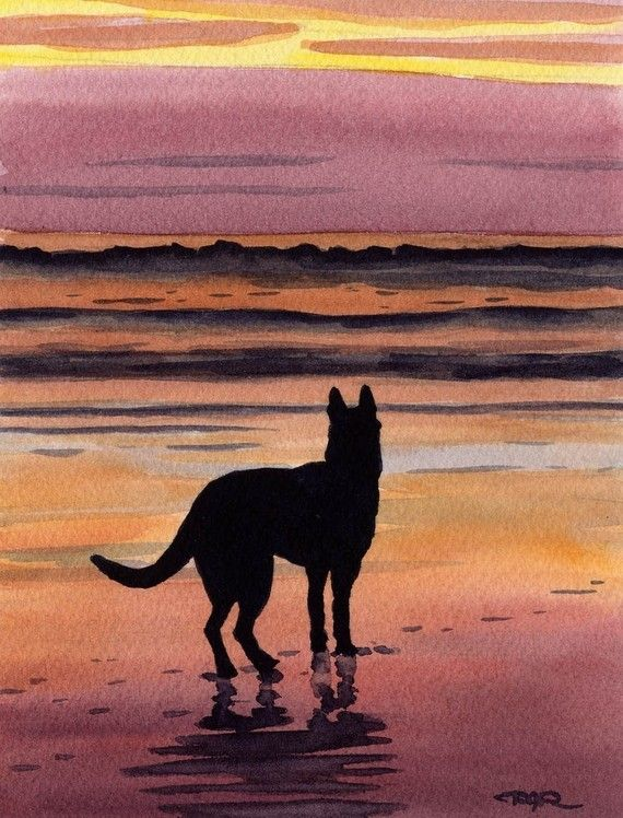 Drawn puppy sunset #Shepherds best Print Art Signed