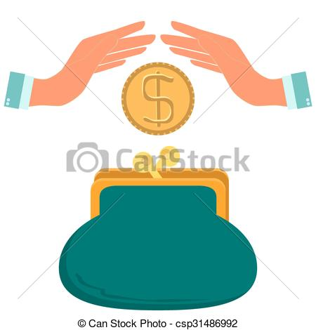 Drawn purse hand holding Gold or wallet a dollar