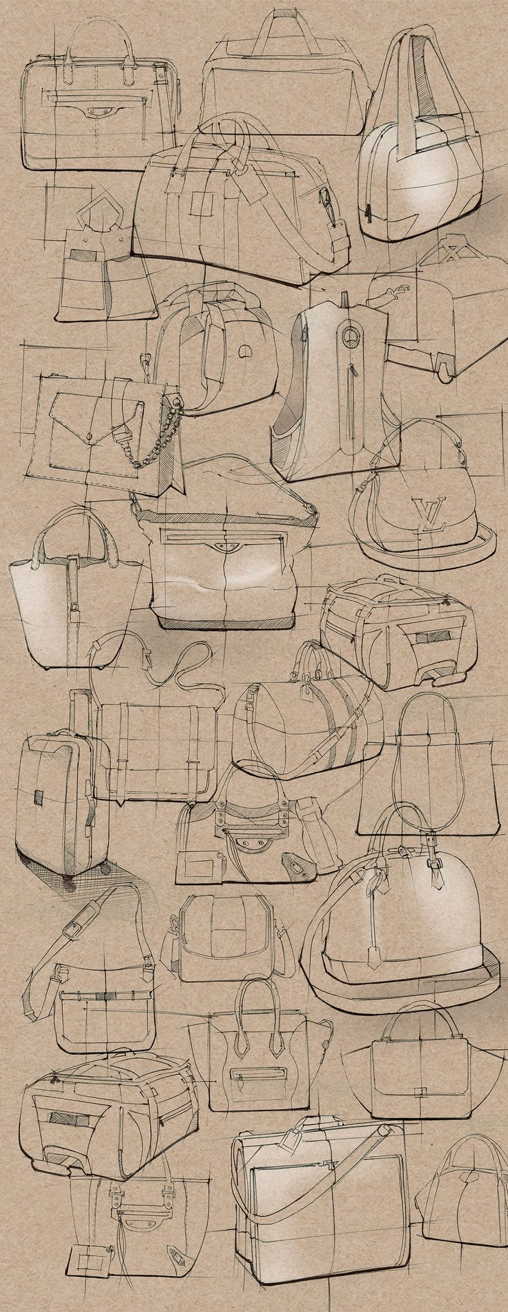 Drawn purse hatched Bag and sketches images more