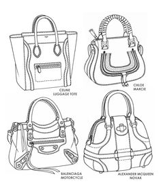 Drawn purse line drawing Emily Handbag designs design sketch